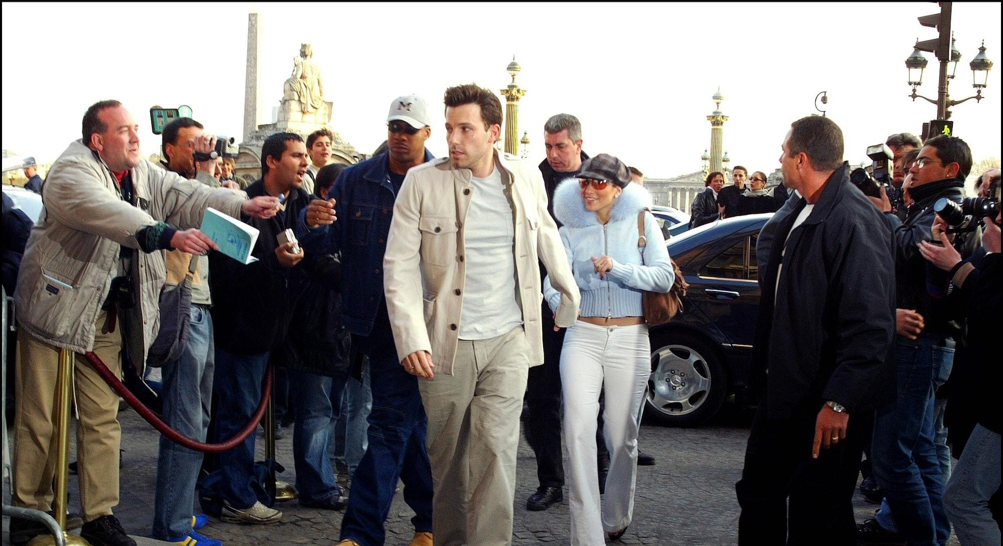 FRANCE - APRIL 09:  Jennifer Lopez and Ben Affleck in Paris, France on April 09, 2003.  (Photo by Po...