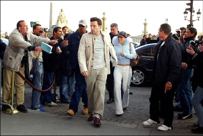 FRANCE - APRIL 09:  Jennifer Lopez and Ben Affleck in Paris, France on April 09, 2003.  (Photo by Pool LE FLOCH/TRAVERS/Gamma-Rapho via Getty Images)