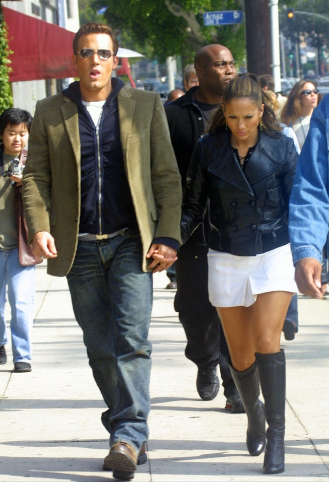 Jennifer Lopez and Ben Affleck on the set of 2002's Jenny from the Block music video.