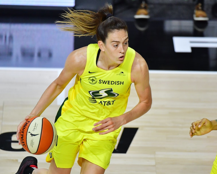 PALMETTO, FLORIDA - OCTOBER 06: Breanna Stewart #30 of the Seattle Storm dribbles during the second half of Game 3 of the WNBA Finals against the Las Vegas Aces at Feld Entertainment Center on October 06, 2020 in Palmetto, Florida. NOTE TO USER: User expressly acknowledges and agrees that, by downloading and or using this photograph, User is consenting to the terms and conditions of the Getty Images License Agreement. (Photo by Julio Aguilar/Getty Images)