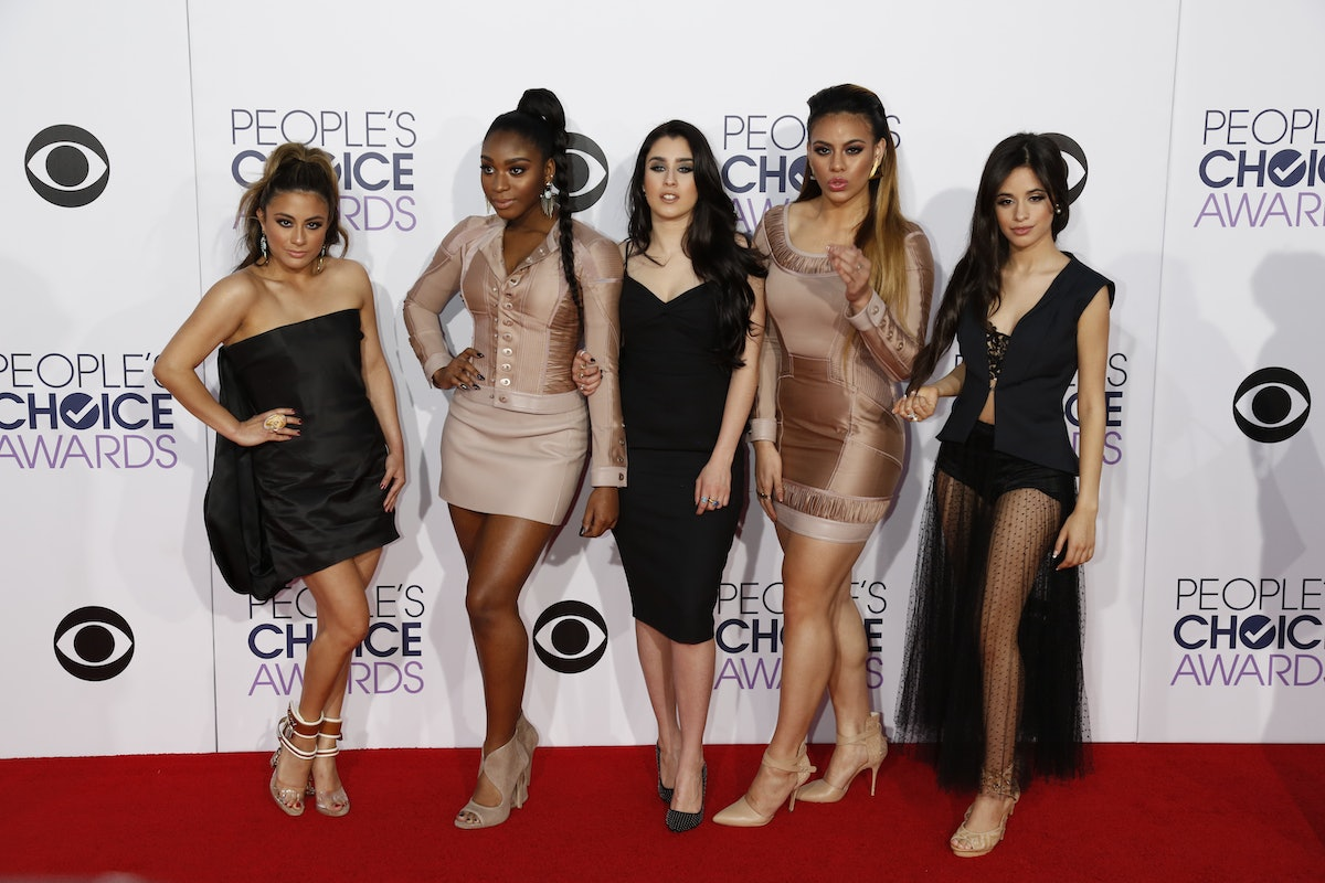 Singers Ally Brooke Hernandez (l-r), Normani Hamilton, Lauren Jauregui, Dinah Jane Hansen and Camila Cabello of Fifth Harmony arrive at the 41st People's Choice Awards in Los Angeles, USA, 07 January 2015. Photo: Hubert Boesl- NOWIRESERVICE- | usage worldwide   (Photo by Hubert Boesl/picture alliance via Getty Images)