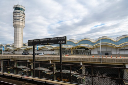 View from the Ronald Reagan Washington National Airport metro station, looking toward the terminal and control tower at the airport, on January 19, 2021.