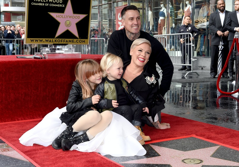 Pink, Carey Hart, Willow Sage Hart and Jameson Moon Hart attend the ceremony honoring Pink with Star on the Hollywood Walk of Fame in 2019 in Hollywood, California.