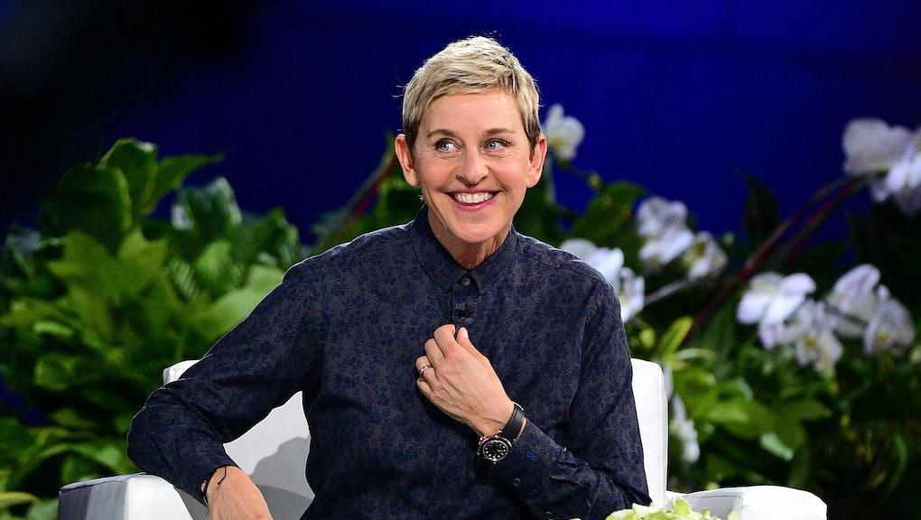 NEW YORK, NY - SEPTEMBER 08:  Ellen Degeneres hosts 'The Ellen Degeneres Show' Season 13 Bi-Coastal Premiere at Rockefeller Center on September 8, 2015 in New York City.  (Photo by James Devaney/GC Images)