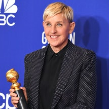 BEVERLY HILLS, CALIFORNIA - JANUARY 05:  Ellen Degeneres poses in the press room at the 77th Annual Golden Globe Awards at The Beverly Hilton Hotel on January 05, 2020 in Beverly Hills, California. (Photo by Steve Granitz/WireImage,)