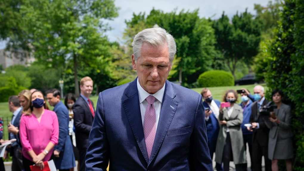 WASHINGTON, DC - MAY 12: House Minority Leader Kevin McCarthy (R-CA) departs after speaking with reporters outside the White House after his Oval Office meeting with President Joe Biden on May 12, 2021 in Washington, DC. Biden and Vice President Kamala Harris met with Congressional leadership on Wednesday, in an attempt to find common ground on issues. (Photo by Drew Angerer/Getty Images)