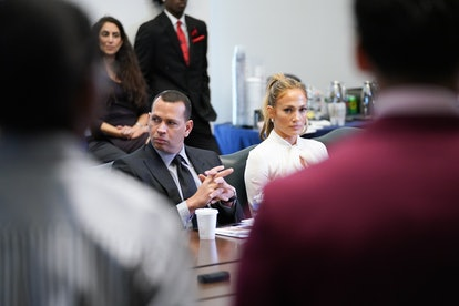 Alex Rodriguez and Jennifer Lopez at Yankee Stadium in 2018 for the Project Destined Yankees Shark Tank Presentations.