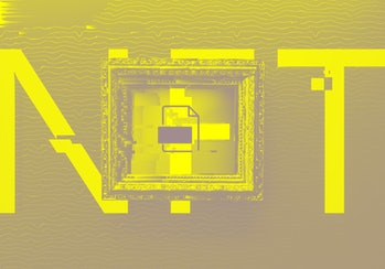 Digital generated image of NFT letters behind golden frame with digital art visualizing blockchain t...