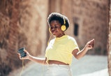 tween girl listening to headphones