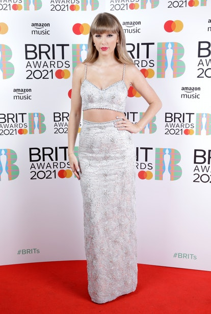 LONDON, ENGLAND - MAY 11: Taylor Swift, winner of the Global Icon award poses in the media room during The BRIT Awards 2021 at The O2 Arena on May 11, 2021 in London, England. (Photo by JMEnternational/JMEnternational for BRIT Awards/Getty Images)