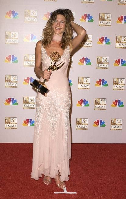 Jennifer Aniston wearing a pale pink Dior dress at the 2002 Emmys.