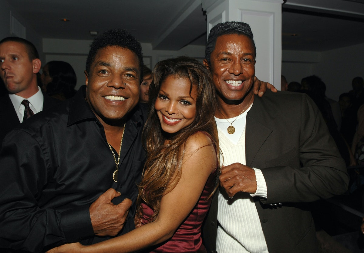 """(EXCLUSIVE, Premium Rates Apply) HOLLYWOOD - OCTOBER 04:  **EXCLUSIVE**  Actress/singer Janet Jackson (C) and brothers Tito Jackson (L) and Jermaine Jackson (R) attend the after party for the premiere of  """"Tyler Perry's Why Did I Get Married?"""" at the Blvd.3 on October 14, 2007 in Hollywood, California.  (Photo by Lester Cohen/WireImage)"""