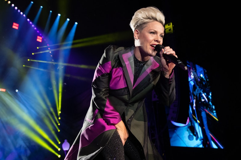 US singer/songwriter Pink performs at the 2019 F1 United States Grand Prix at Circuit of the Americas on November 2, 2019 in Austin, Texas. (Photo by SUZANNE CORDEIRO / AFP) (Photo by SUZANNE CORDEIRO/AFP via Getty Images)