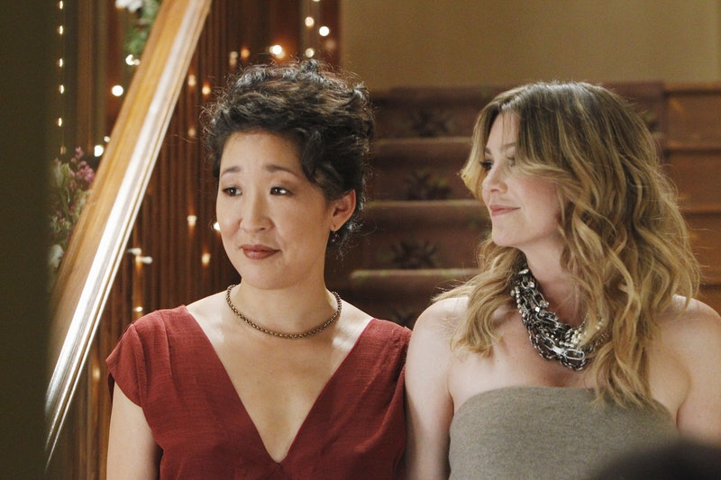 """GREY'S ANATOMY - """"With You I'm Born Again"""" -- After an unforgettable and heart-pounding season finale, """"Grey's Anatomy"""" returns for its seventh season on THURSDAY, SEPTEMBER 23 (9:00-10:01 p.m., ET) on the ABC Television Network. In the season premiere, the hospital staff is trying to deal with physical and emotional trauma in the wake of the deadly rampage of a vengeful gunman. As Dr. Perkins (James Tupper), a trauma counselor, is brought in to help in the recovery and to assess each doctor's readiness to return to work, Derek makes a spontaneous decision to resign as Chief and rushes back into surgery, taking everything a little too fast, and Cristina buries herself in her wedding planning. (Photo by Peter """"Hopper"""" Stone/ABC via Getty Images) SANDRA OH, ELLEN POMPEO"""