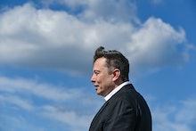 03 September 2020, Brandenburg, Grünheide: Elon Musk, head of Tesla, stands on the construction site...