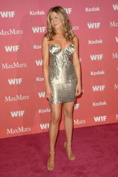 Jennifer Aniston wearing a metallic Prada minidress at the 2009 event.