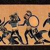Greek vase showing soldiers fighting at war in Athens Greece ( Fifth period 431 - 404 ) Original edition from my own archives Source : Historia de los griegos 1891