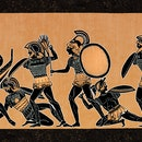 Greek vase showing soldiers fighting at war in Athens Greece ( Fifth period 431 - 404 ) Original edi...
