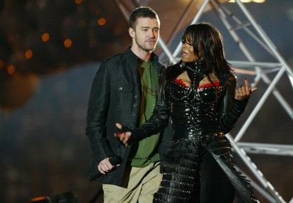 Justin Timberlake and Janet Jackson perform during the half - time show at Super Bowl XXXVIII (Photo...