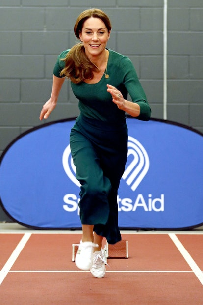 LONDON, ENGLAND - FEBRUARY 26: Catherine, Duchess of Cambridge is seen running during a SportsAid Stars event at the London Stadium in Stratford on February 26, 2020 in London, England. (Photo by Yui Mok - WPA Pool/Getty Images)