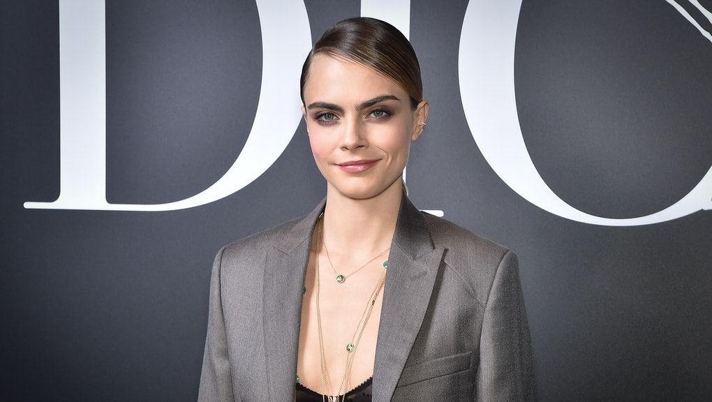 PARIS, FRANCE - JANUARY 17: Cara Delevingne attends the Dior Homme Menswear Fall/Winter 2020-2021 show as part of Paris Fashion Week on January 17, 2020 in Paris, France. (Photo by Stephane Cardinale - Corbis/Corbis via Getty Images)