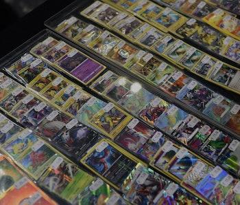 LONDON, ENGLAND - NOVEMBER 17:  Pokemon cards on sale at the Pokemon European International Champion...