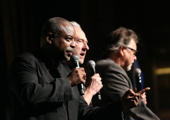 LAS VEGAS, NV - AUGUST 09:  (L-R) Actors LeVar Burton, Brent Spiner and Jonathan Frakes speak during the 14th annual official Star Trek convention at the Rio Hotel & Casino on August 9, 2015 in Las Vegas, Nevada.  (Photo by Gabe Ginsberg/FilmMagic)