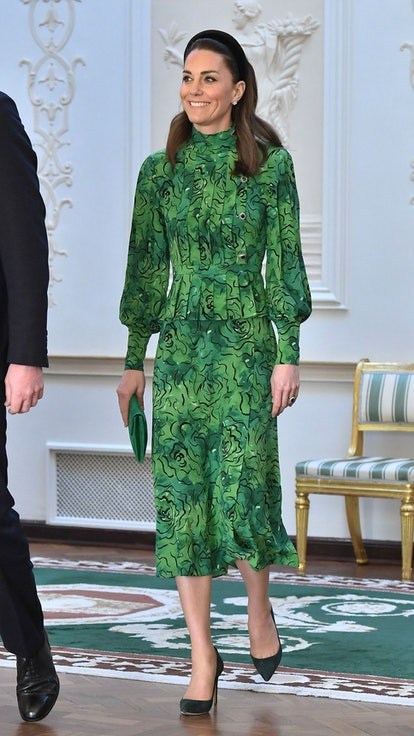 DUBLIN, IRELAND - MARCH 03: Catherine, Duchess of Cambridge arrives for a meeting with the President of Ireland at Áras an Uachtaráin on March 03, 2020 in Dublin, Ireland. The Duke and Duchess of Cambridge are undertaking an official visit to Ireland between Tuesday 3rd March and Thursday 5th March, at the request of the Foreign and Commonwealth Office. (Photo by Samir Hussein/WireImage)