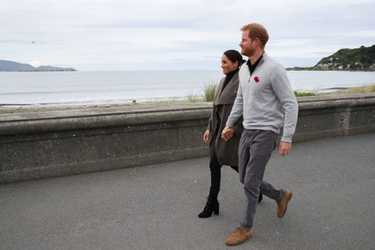 WELLINGTON, NEW ZEALAND - OCTOBER 29:  Prince Harry, Duke of Sussex and Meghan, Duchess of Sussex wa...