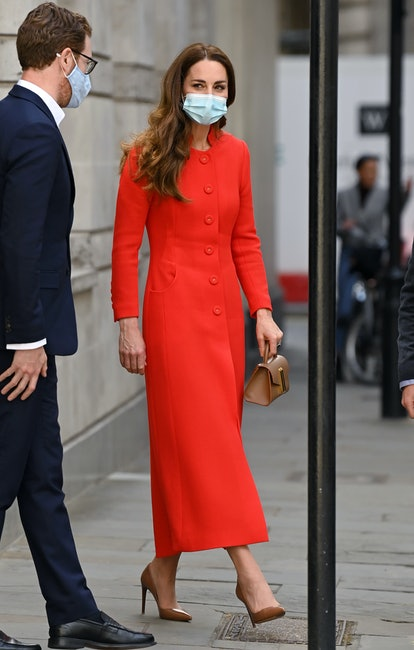 LONDON, ENGLAND - MAY 07: (EMBARGOED FOR PUBLICATION IN UK NEWSPAPERS UNTIL 24 HOURS AFTER CREATE DATE AND TIME) Catherine, Duchess of Cambridge visits the National Portrait Gallery Archive on May 07, 2021 in London, England. (Photo by Karwai Tang/WireImage)