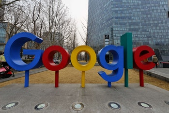 BEIJING, CHINA - MARCH 10, 2021 - A Google logo is seen in front of the Google building in Beijing, March 10, 2021. According to The Verge, Google has announced that it will have separate profiles for kids in Google TV. Kids profiles allow users to decide which apps to use for children. Parents can set viewing times for children's files and enter a specified bedtime.PHOTOGRAPH BY Costfoto / Barcroft Studios / Future Publishing (Photo credit should read Costfoto/Barcroft Media via Getty Images)