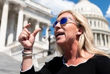 UNITED STATES - MAY 14: Rep. Marjorie Taylor Greene, R-Ga., speaks to reporters about her recent int...