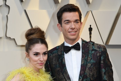 US comedian John Mulaney (R) and his wife Annamarie Tendler arrive for the 91st Annual Academy Award...