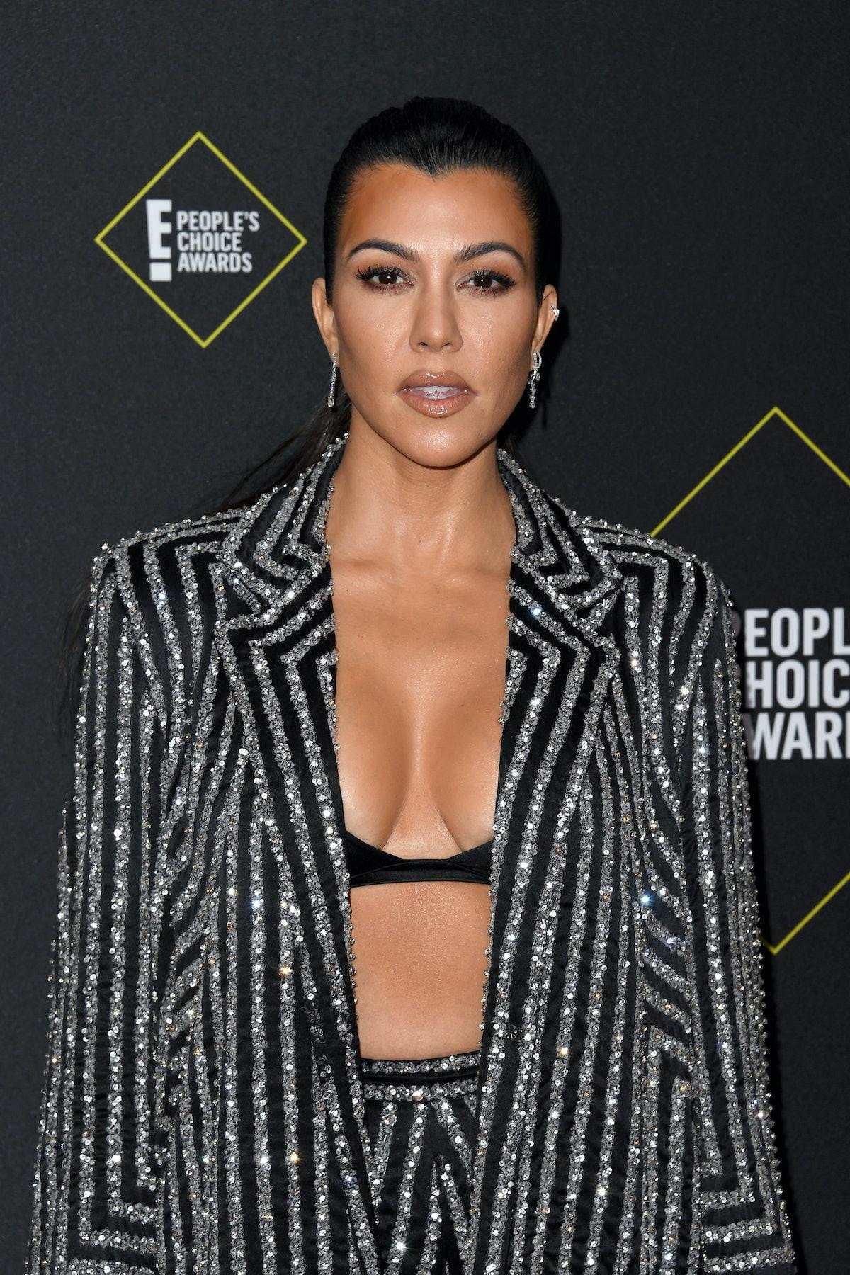 SANTA MONICA, CALIFORNIA - NOVEMBER 10: Kourtney Kardashian attends the 2019 E! People's Choice Awards at Barker Hangar on November 10, 2019 in Santa Monica, California. (Photo by Jon Kopaloff/FilmMagic)