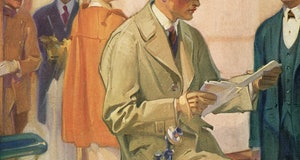 Illustration of a bussinessman in a trenchcoat reviewing his mail as he sits on a desk in a busy office, 1922. Screen print. (Photo by GraphicaArtis/Getty Images)