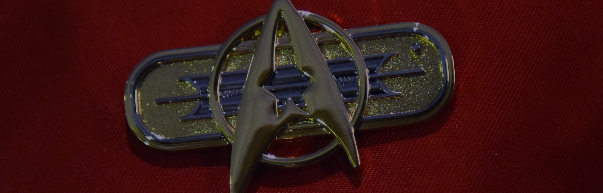 A man wearing a Star Trek badge at the science fiction fan meeting 'FedCon' in Bonn, Germany, 13 May...