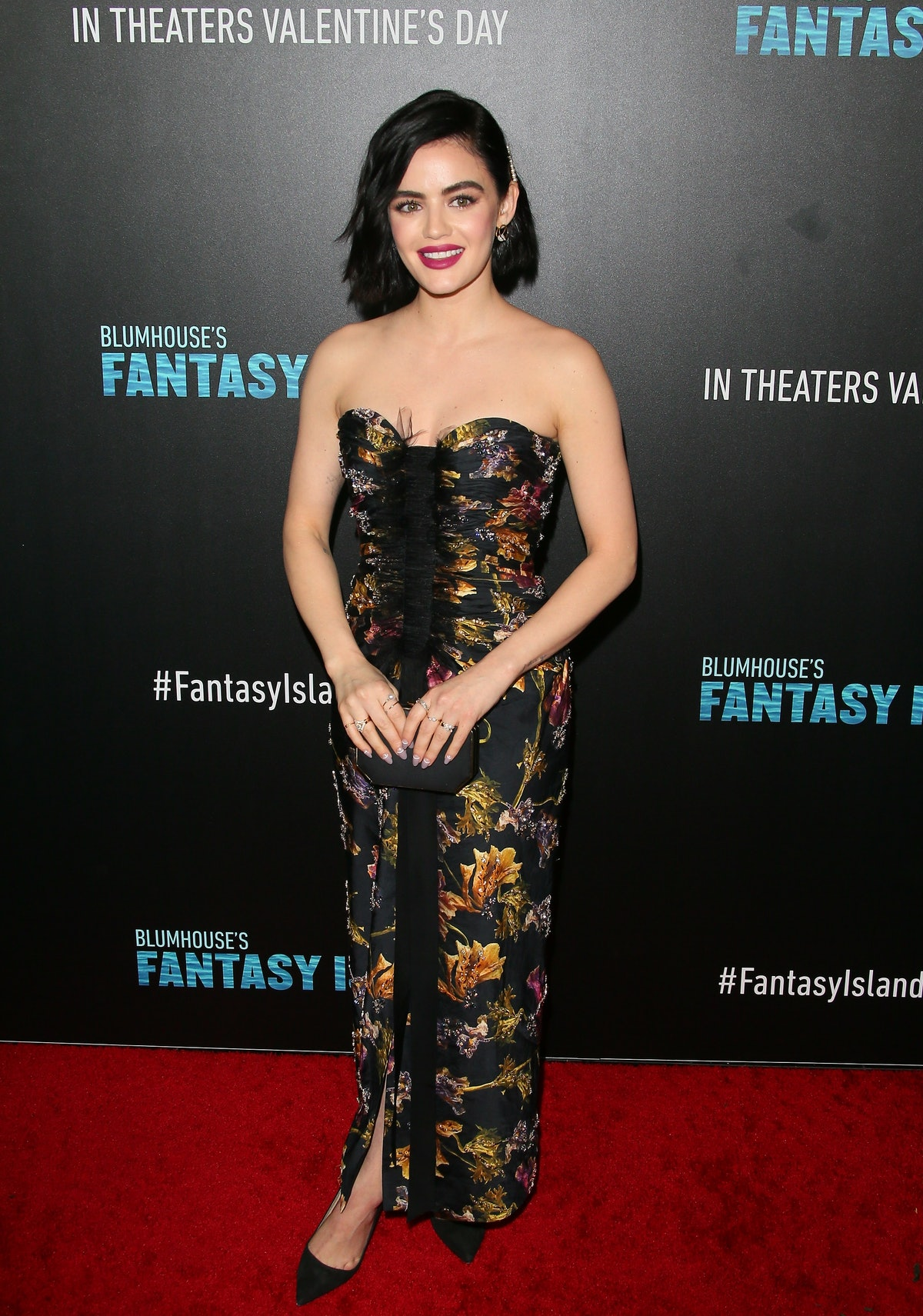 """CENTURY CITY, CALIFORNIA - FEBRUARY 11: Lucy Hale attends the premiere of Columbia Pictures' """"Blumhouse's Fantasy Island"""" at AMC Century City 15 on February 11, 2020 in Century City, California. (Photo by Jean Baptiste Lacroix/WireImage)"""