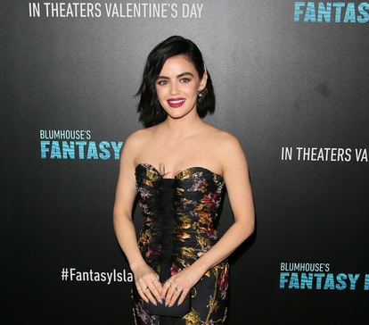 """CENTURY CITY, CALIFORNIA - FEBRUARY 11: Lucy Hale attends the premiere of Columbia Pictures' """"Blumho..."""