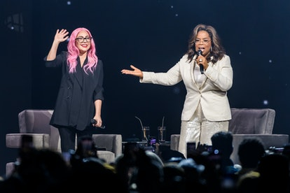 SUNRISE, FL - JANUARY 04: (EXCLUSIVE COVERAGE) Lady Gaga and Oprah Winfrey speak during Oprah's 2020...