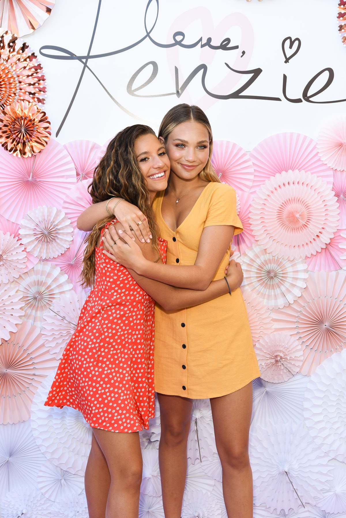 """WEST HOLLYWOOD, CA - SEPTEMBER 16:  Mackenzie Ziegler and Maddie Ziegler attend Mackenzie Ziegler Launches New Beauty Line """"Love, Kenzie"""" on September 16, 2018 in West Hollywood, California.  (Photo by Presley Ann/Getty Images)"""