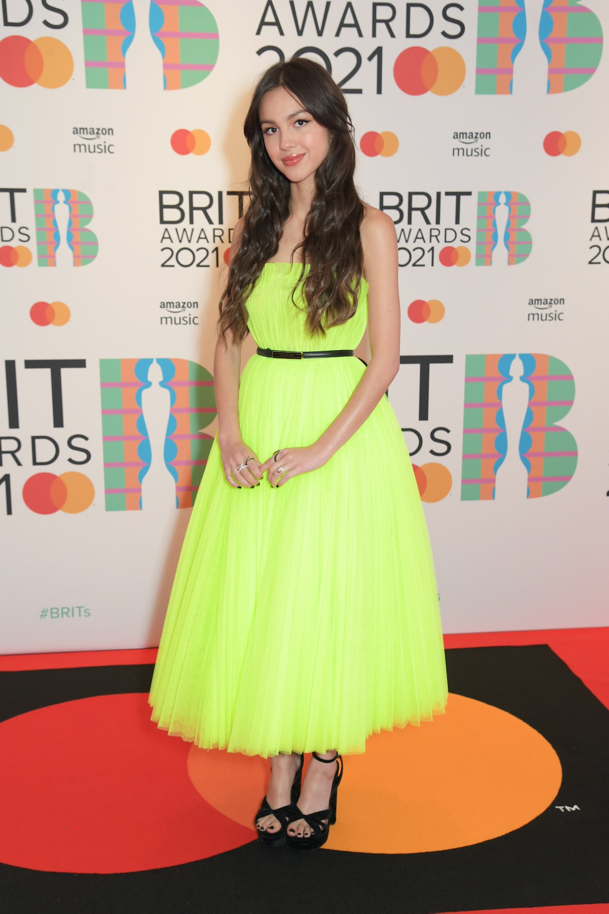 LONDON, ENGLAND - MAY 11:   Olivia Rodrigo arrives at The BRIT Awards 2021 at The O2 Arena on May 11, 2021 in London, England.  (Photo by David M. Benett/Dave Benett/Getty Images)