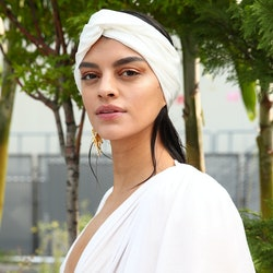 NEW YORK, NEW YORK - SEPTEMBER 15: A model poses backstage during Bronx & Banco - September 2020 - N...