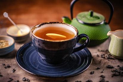 Cup of herbal tea with lemon