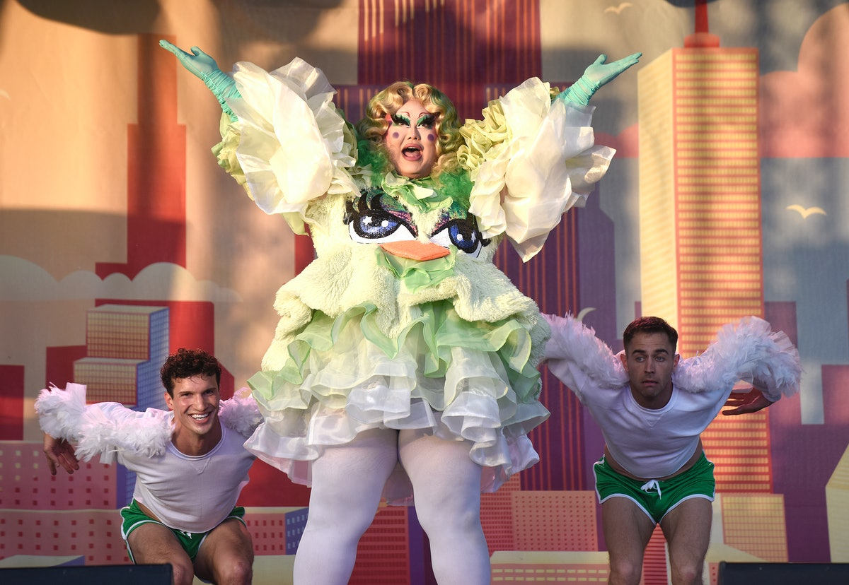 SAN FRANCISCO, CALIFORNIA - MAY 07: Kim Chi performs during Drag N Drive San Francisco at Southland Mall on May 07, 2021 in Hayward, California. (Photo by Tim Mosenfelder/Getty Images)