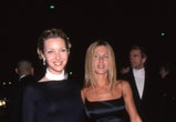 "Lisa Kudrow & Jennifer Aniston of the television show ""Friends"" on the red carpet for the People's Choice Awards on January 9, 2000 in Los Angeles, Cailfornia. (Photo by Vinnie Zuffante/Getty Images)"