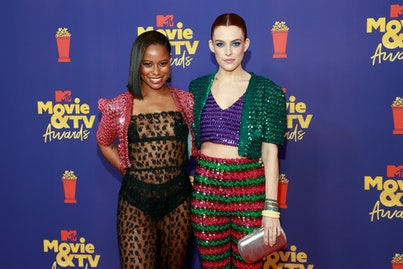 LOS ANGELES, CALIFORNIA - MAY 16: (EDITORS NOTE: Image contains nudity) (L-R) Taylour Paige and Riley Keough attend the 2021 MTV Movie & TV Awards at the Hollywood Palladium on May 16, 2021 in Los Angeles, California. (Photo by Matt Winkelmeyer/2021 MTV Movie and TV Awards/Getty Images for MTV/ViacomCBS)