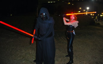SAN DIEGO, CA - JULY 21:  Cosplayers dressed as Kylo Ren from 'Star Wars: The Force Awakens' and Mar...