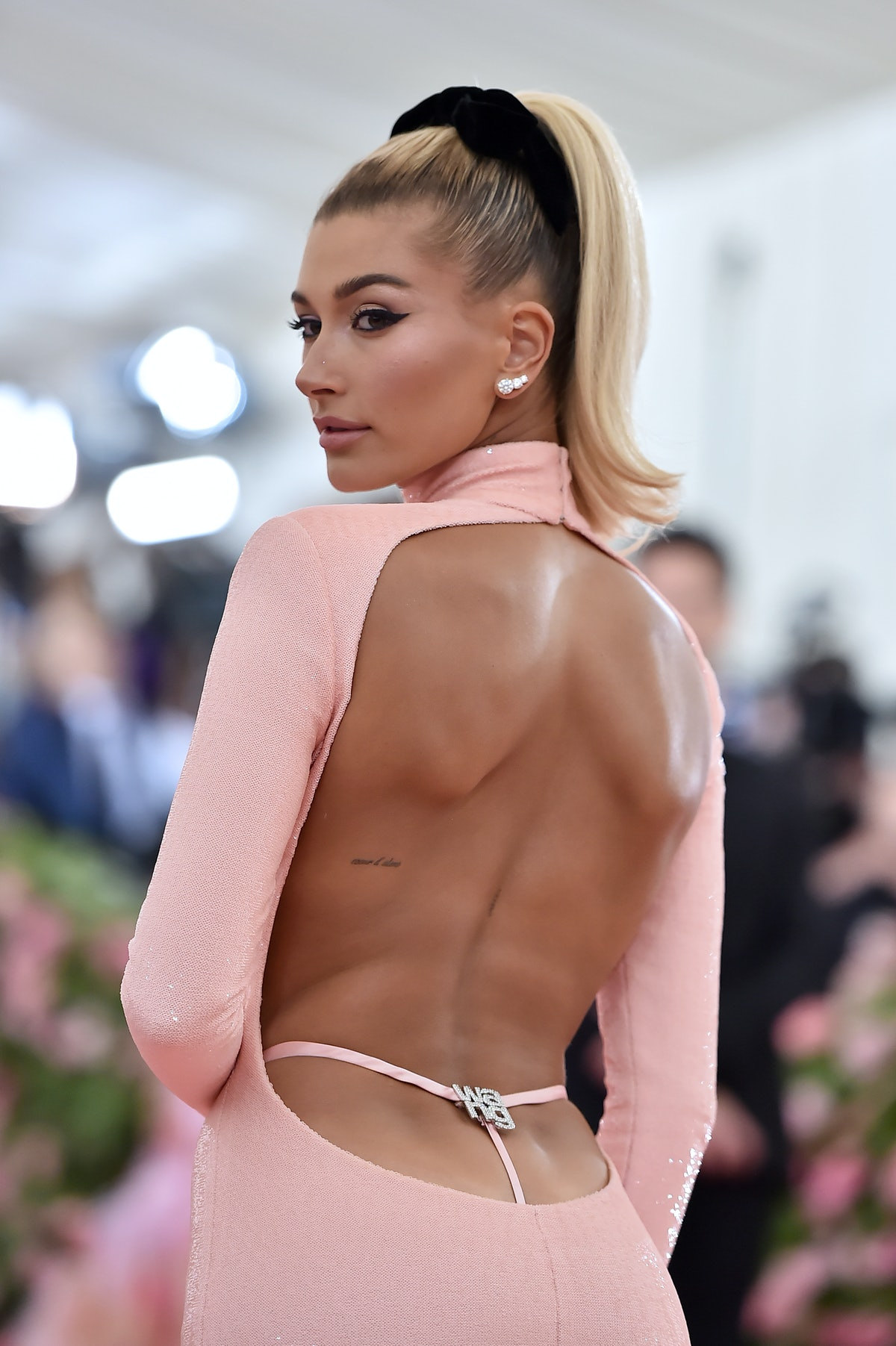 Hailey Bieber attends The 2019 Met Gala wearing a '90s-inspired outfit.