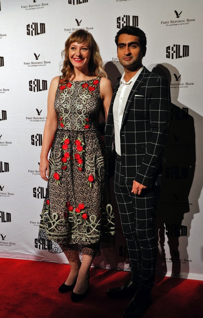 Emily V. Gordon and Kumail Nanjiani on the red carpet during the SFFILM Awards Night at the Palace o...