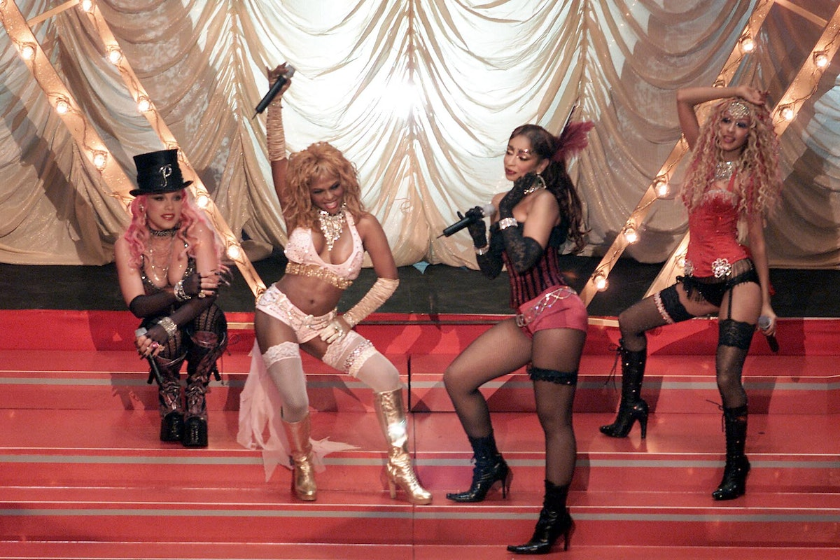 Pink, L'il Kim, Mya, and Christina Aguilera performing 'Lady Marmalade' from the Moulin Rouge soundtrack on the 2001 MTV Move Awards at the Shrine Auditorium in Los Angeles, Ca., 6/2/01. Photo by Dave Hogan/MP/Getty Images